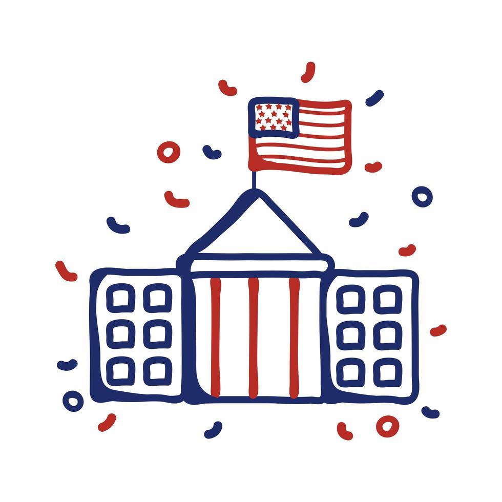 edificio gubernamental con estilo de línea de bandera de EE. UU. vector