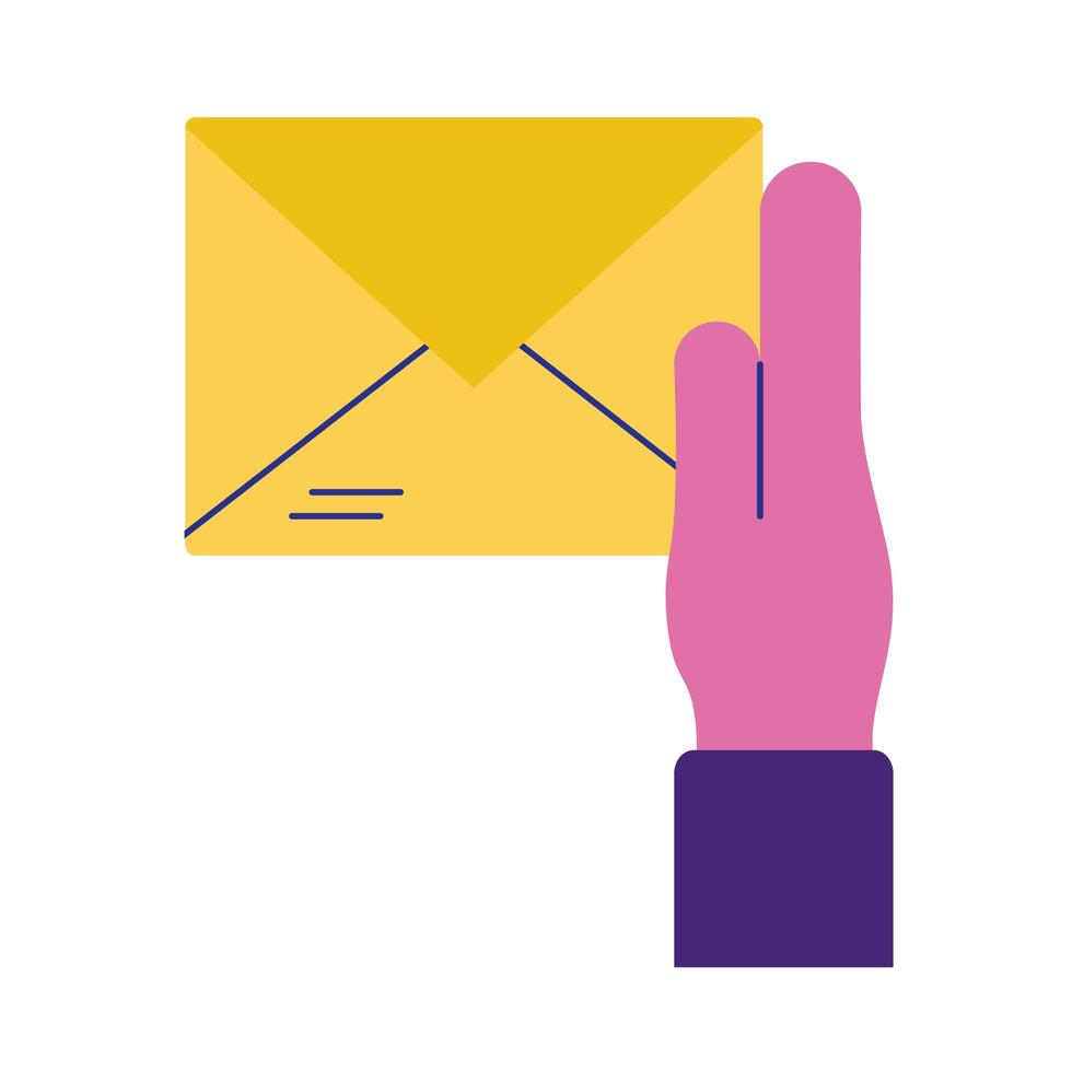 hand with envelope mail flat style icon vector