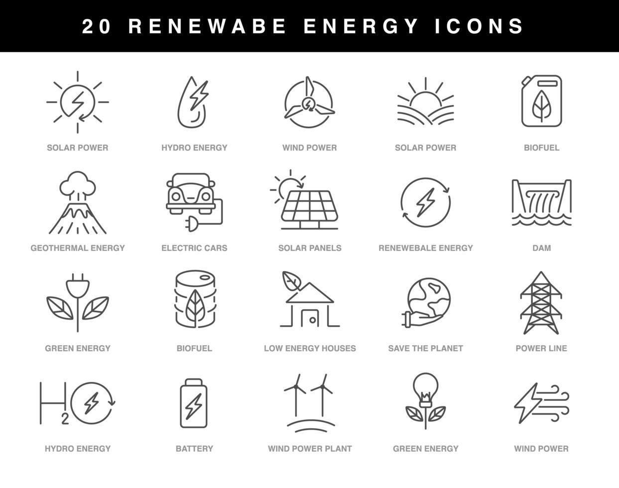 Renewable energy icons set vector