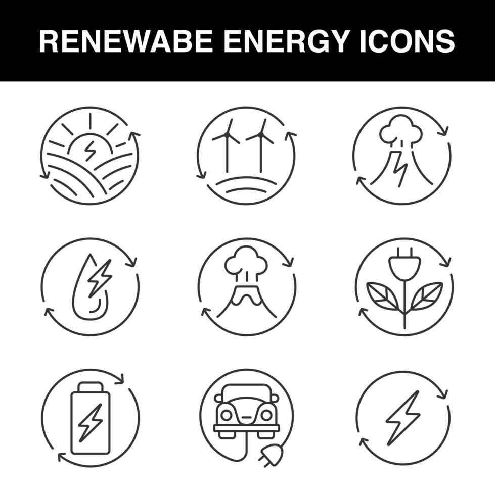 Set of line icons for renewable energy theme vector