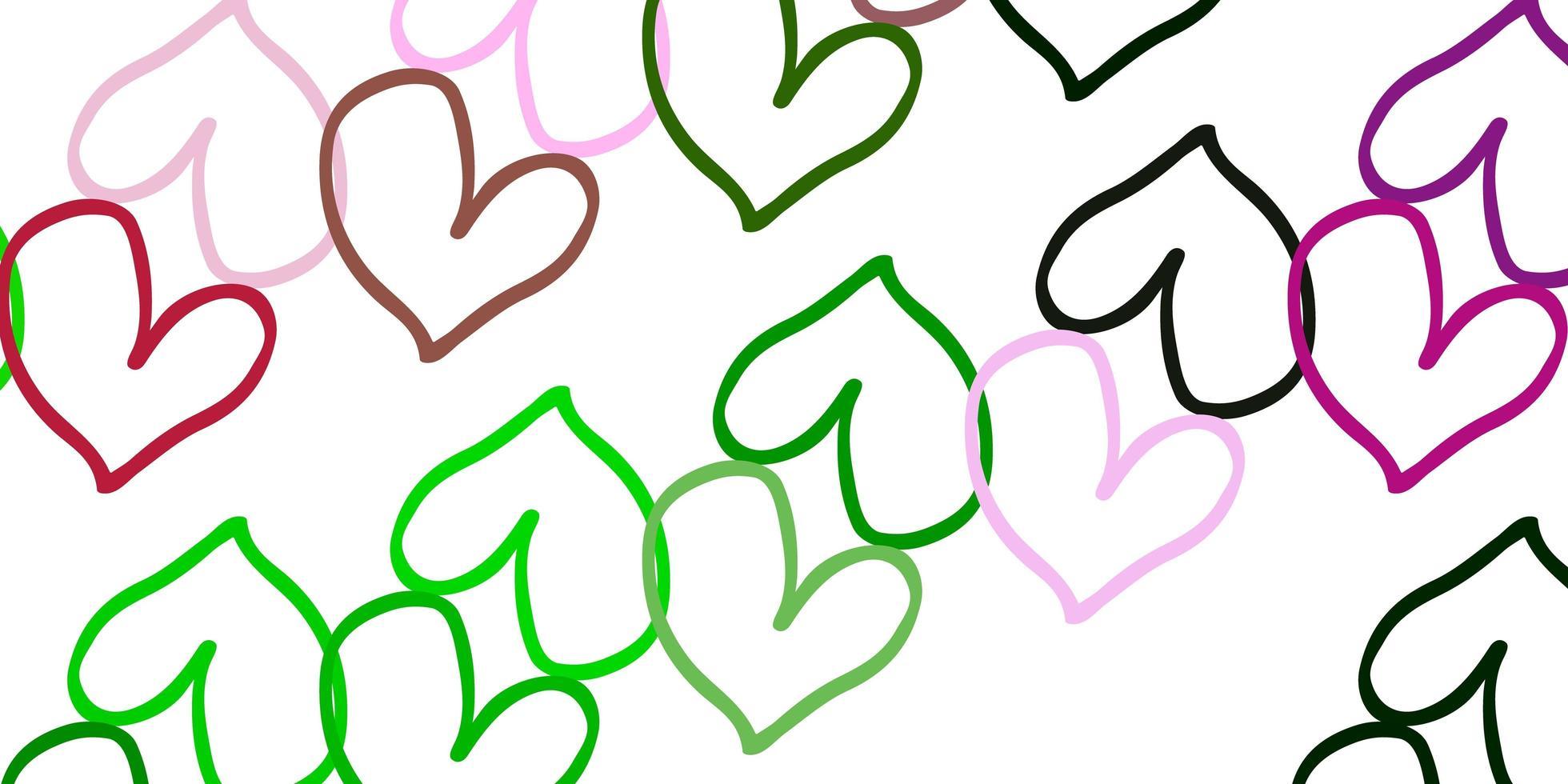 plantilla de vector rosa claro, verde con corazones de doodle.