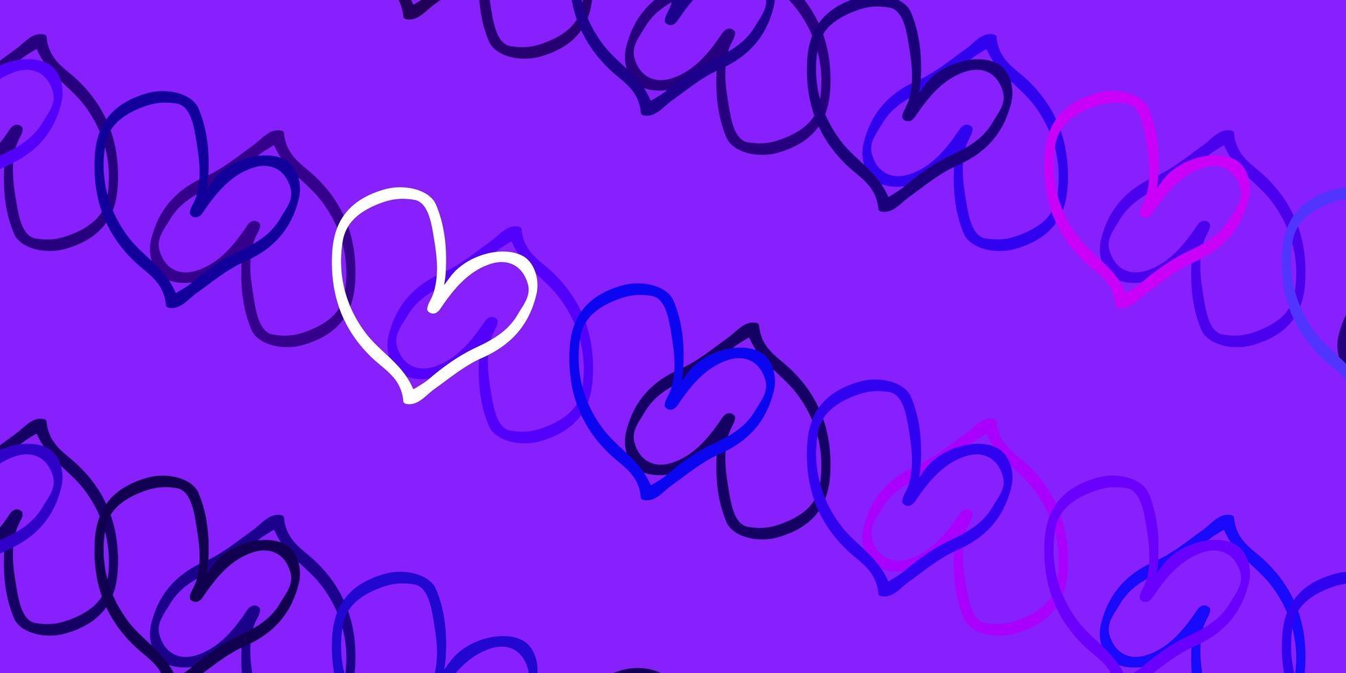 textura de vector violeta, rosa claro con corazones encantadores.