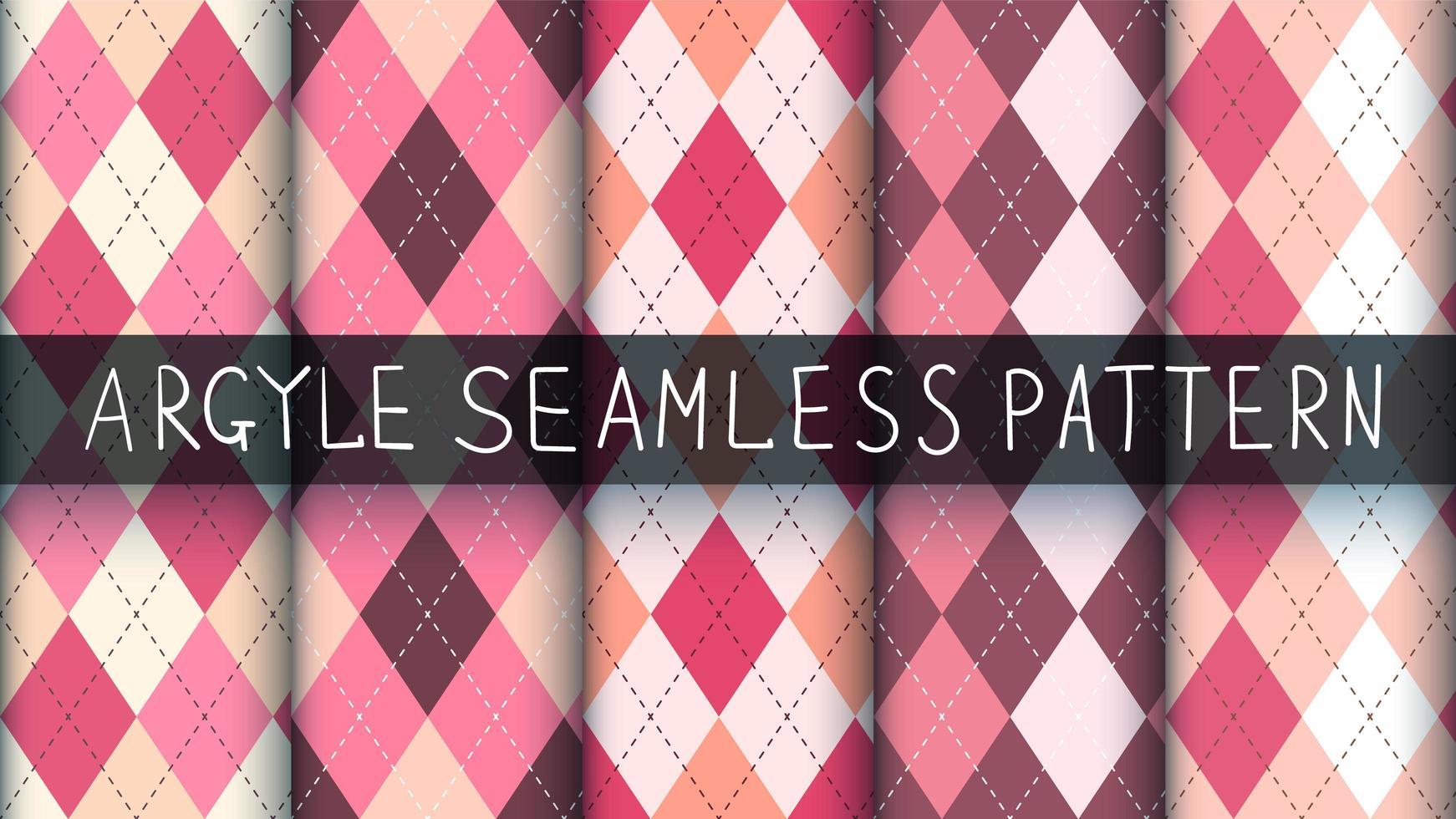 Conjunto de patrones de tartán, rombos y cuadros rosas sin costura vector