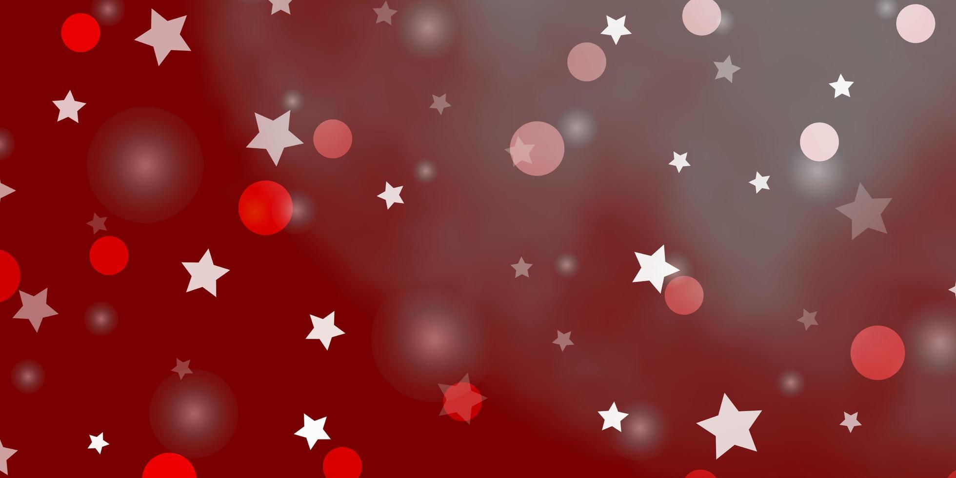 Fondo de vector rojo claro con círculos, estrellas.