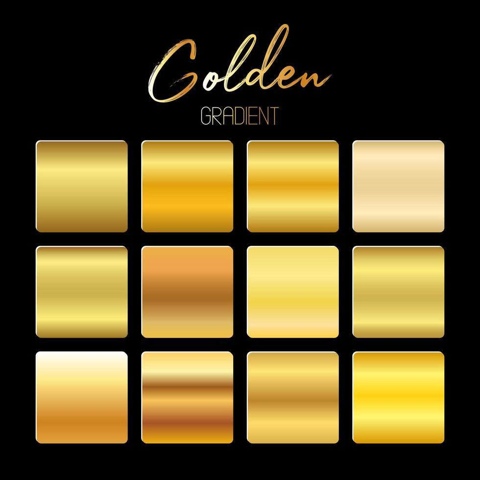 Golden gradients set vector design illustration isolated on black bakground