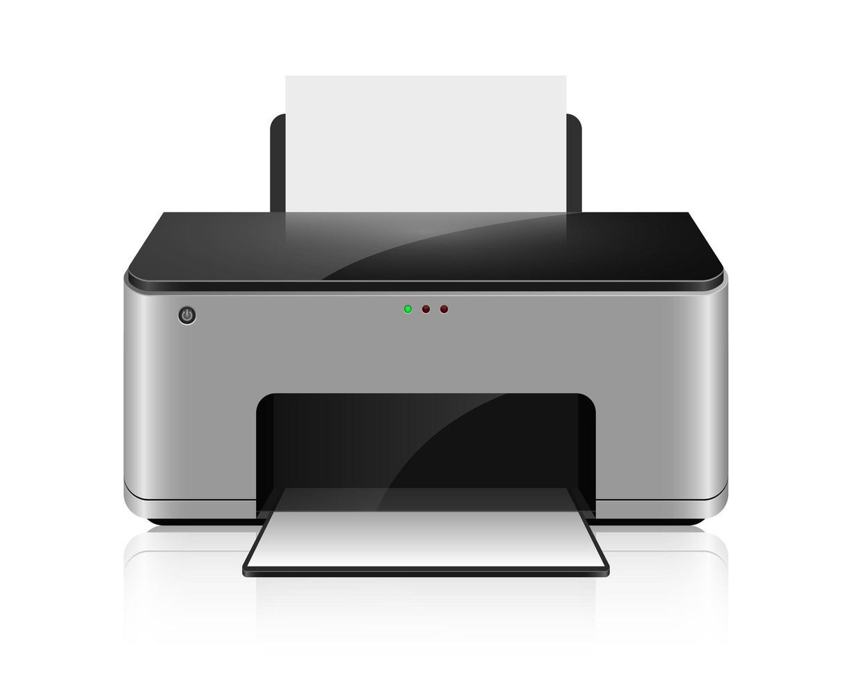 Ilustración de diseño de vector de impresora de inyección de tinta realista isoalted sobre fondo blanco
