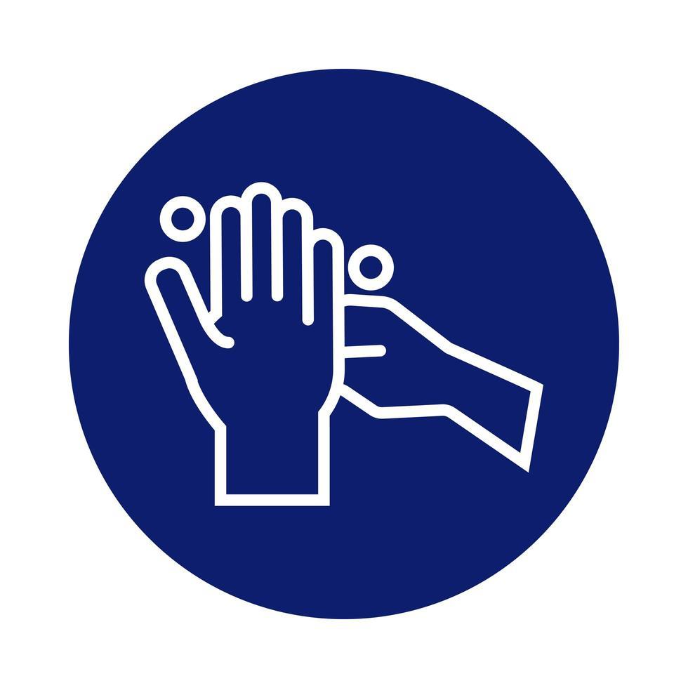 icono de estilo de bloque de lavado de manos vector