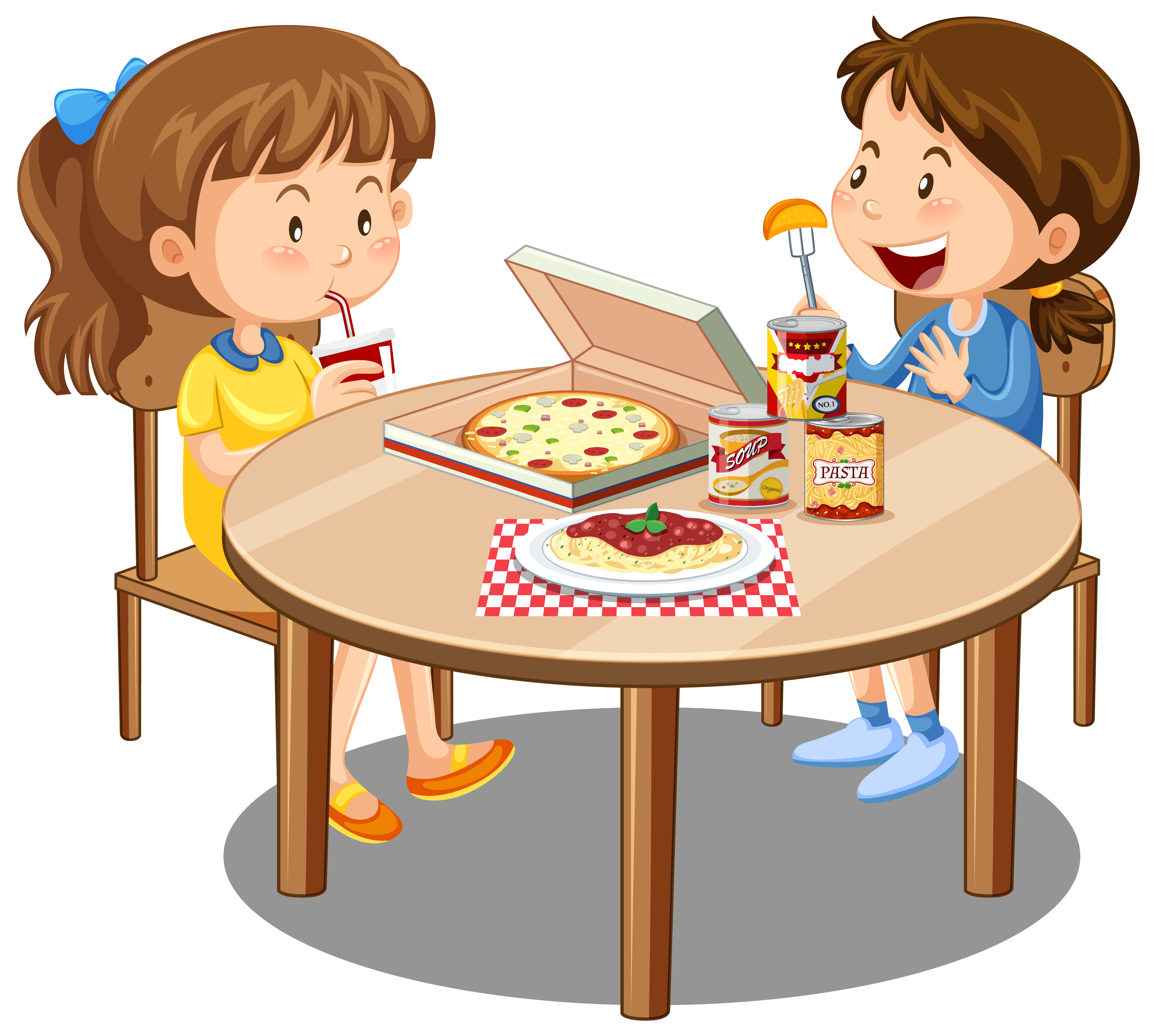 Two Cute Girl Enjoy Eating With Food On The Table White Background 1844907 Vector Art At Vecteezy