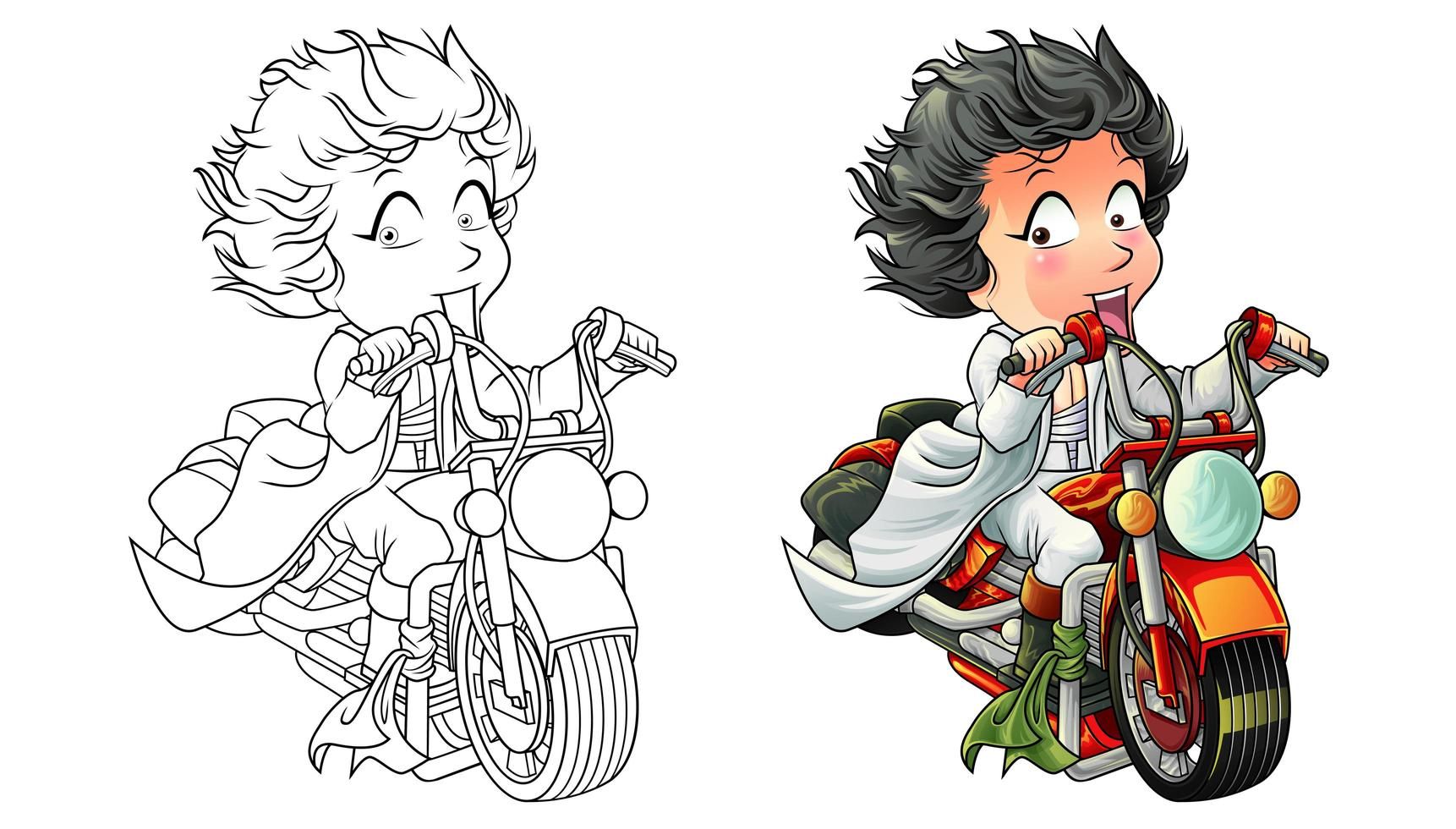 Cute rider cartoon coloring page for kids vector