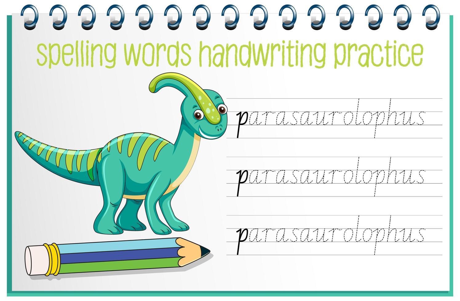 ortografía palabras dinosaurio hoja de trabajo práctica de escritura a mano vector