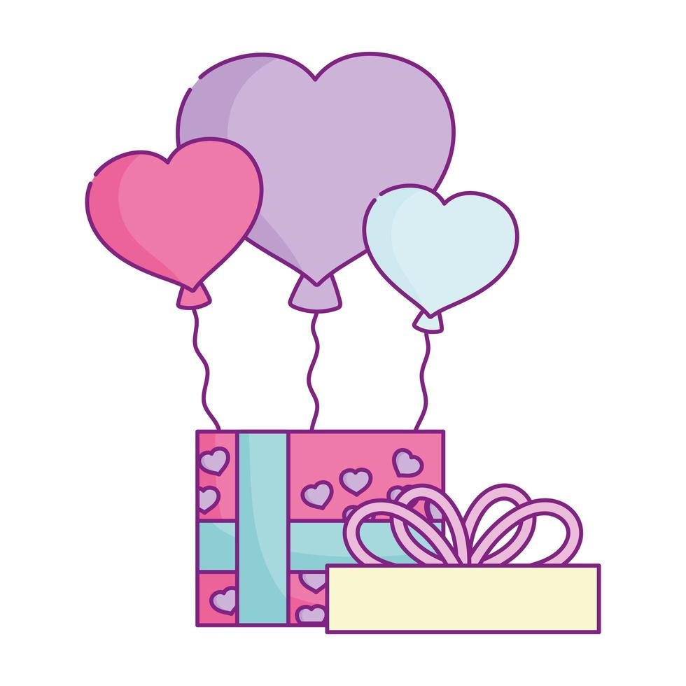 happy valentines day, gift box with balloons and love vector