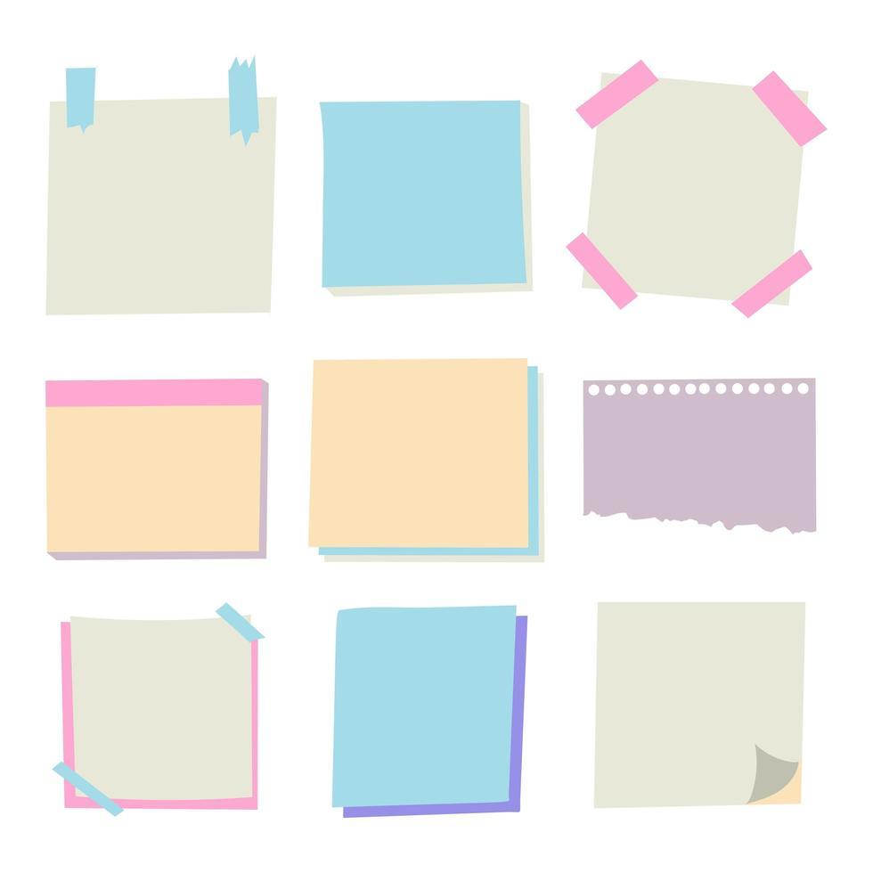 conjunto de papeles de nota de diferentes vectores. vector