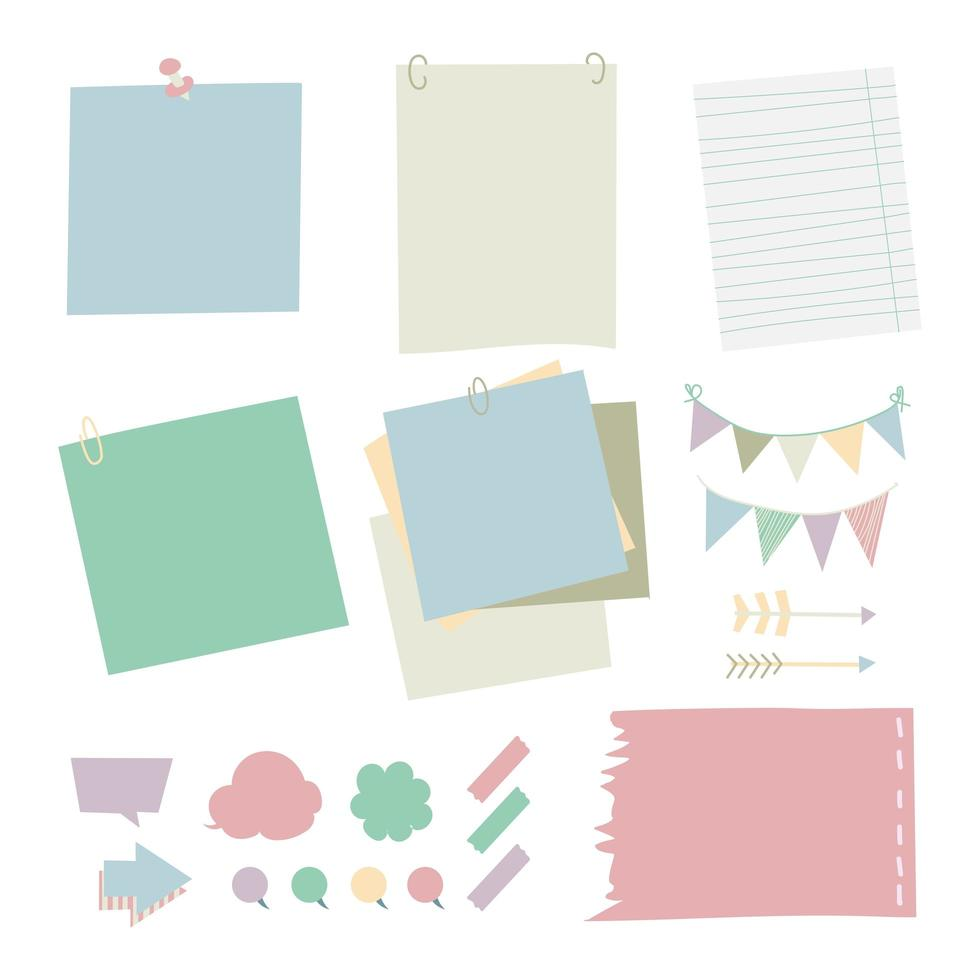 paper stick notepad set in different color. vector illustration concept