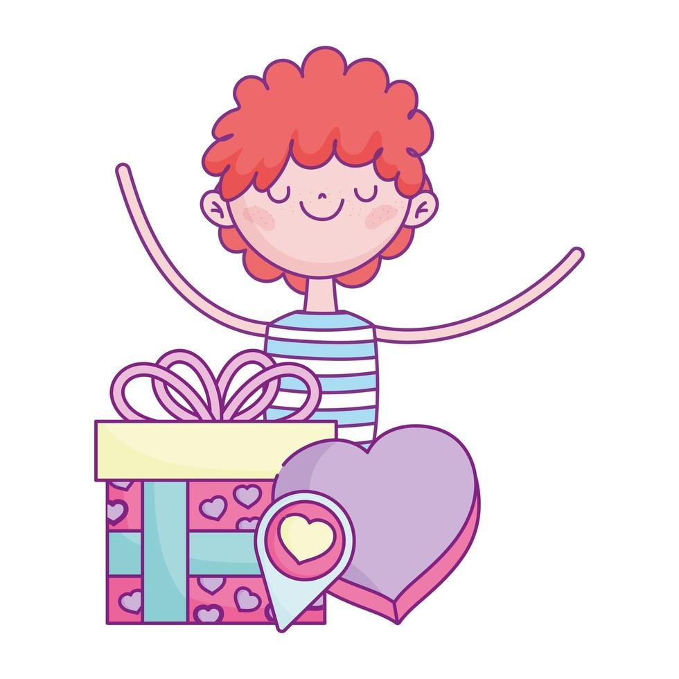 happy valentines day, boy with gift and box shaped heart romantic love vector