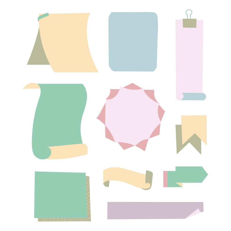 Ilustración de una colección de diferentes papeles adhesivos con accesorios de oficina con agujas o rayas adhesivas con efecto de transparencia en archivo vectorial vector