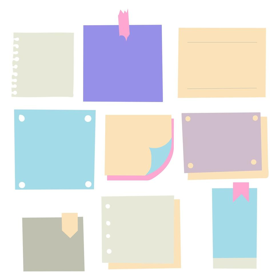 Pieces of different size colorful note, notebook, copybook paper sheets stuck with sticky tape on gray background vector