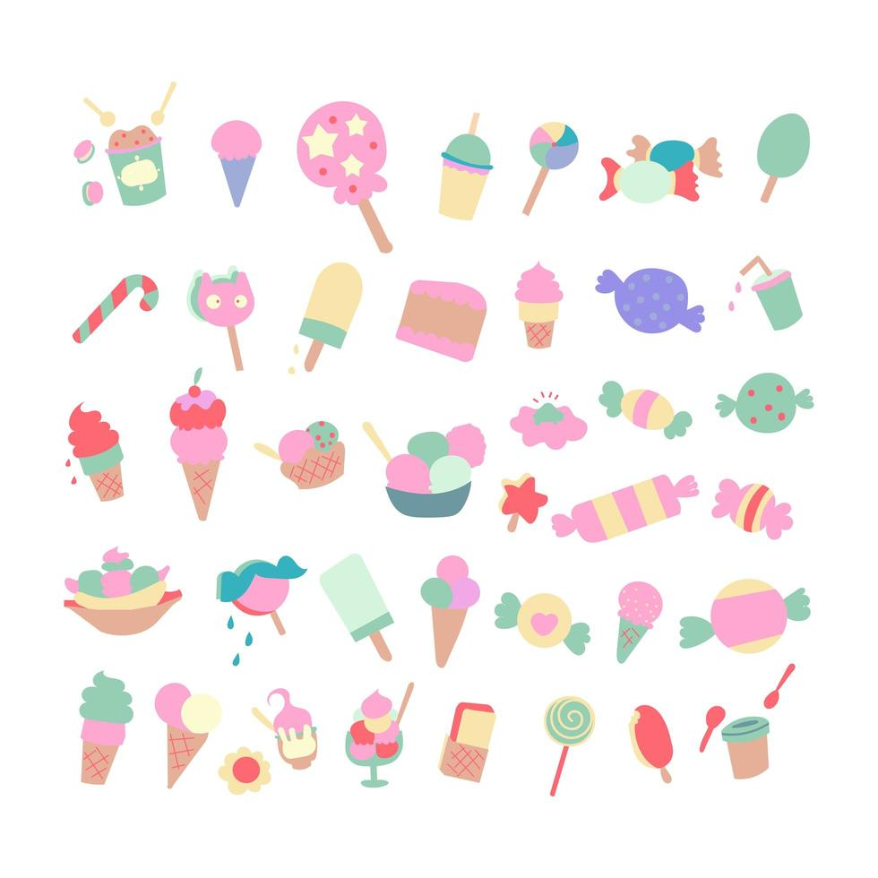 Set of Cakes and ice cream vector element.