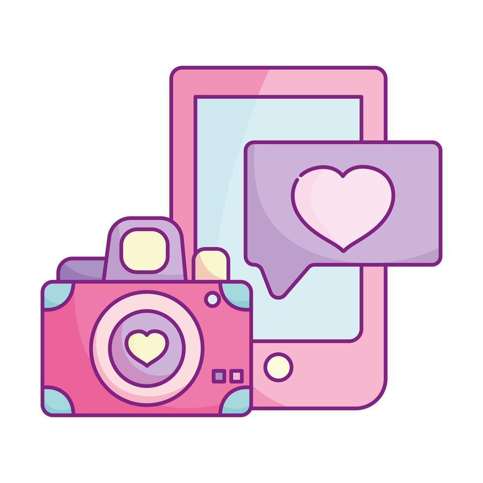 happy valentines day, smartphone camera heart love cartoon vector