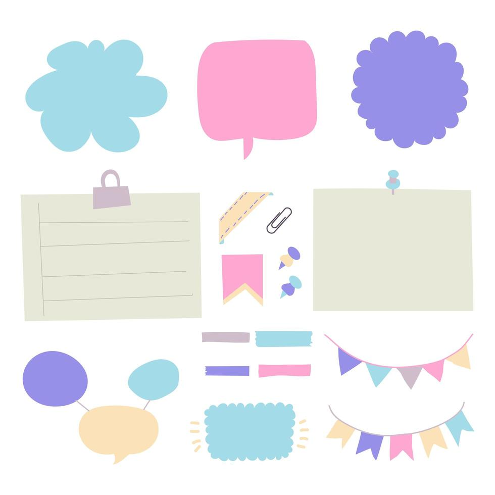 Set of different shapes lined and checkered paper stickers with tape vector