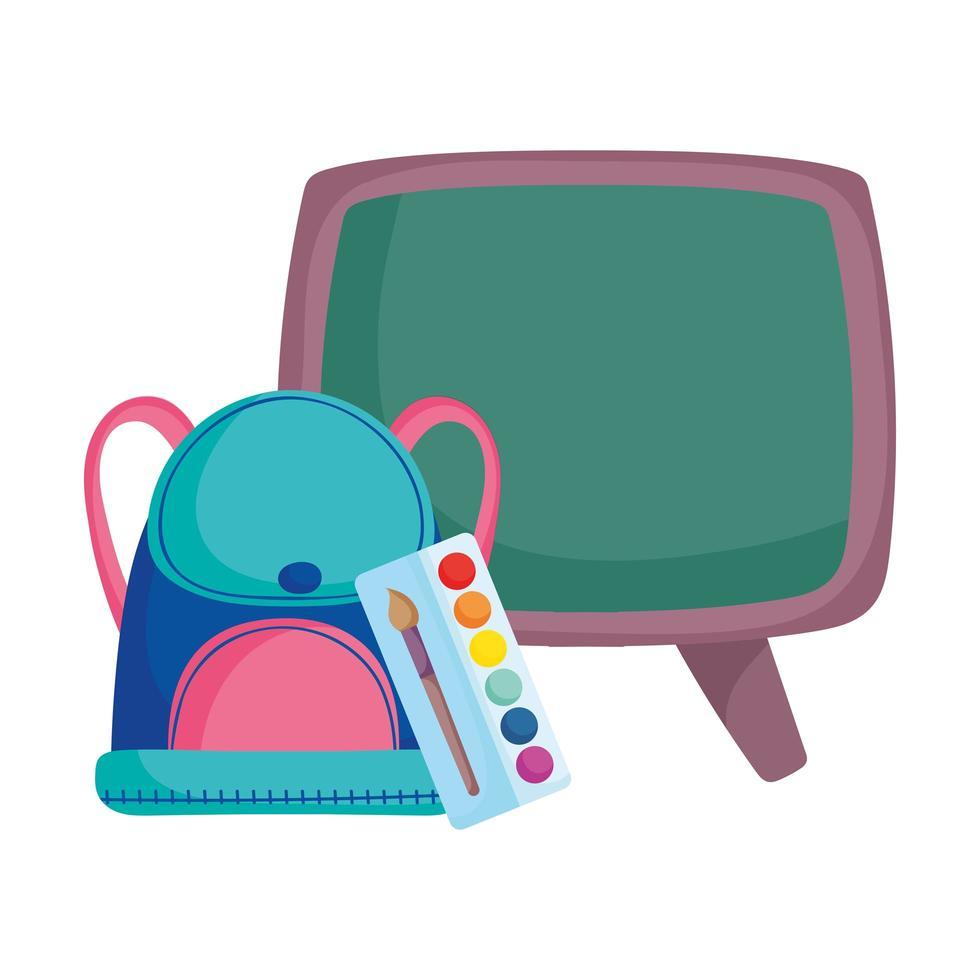 back to school blackboard backpack and palette color brush vector