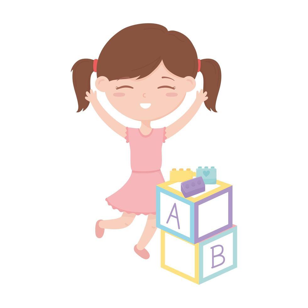 kids zone, cute little girl with alphabet blocks bricks toys vector