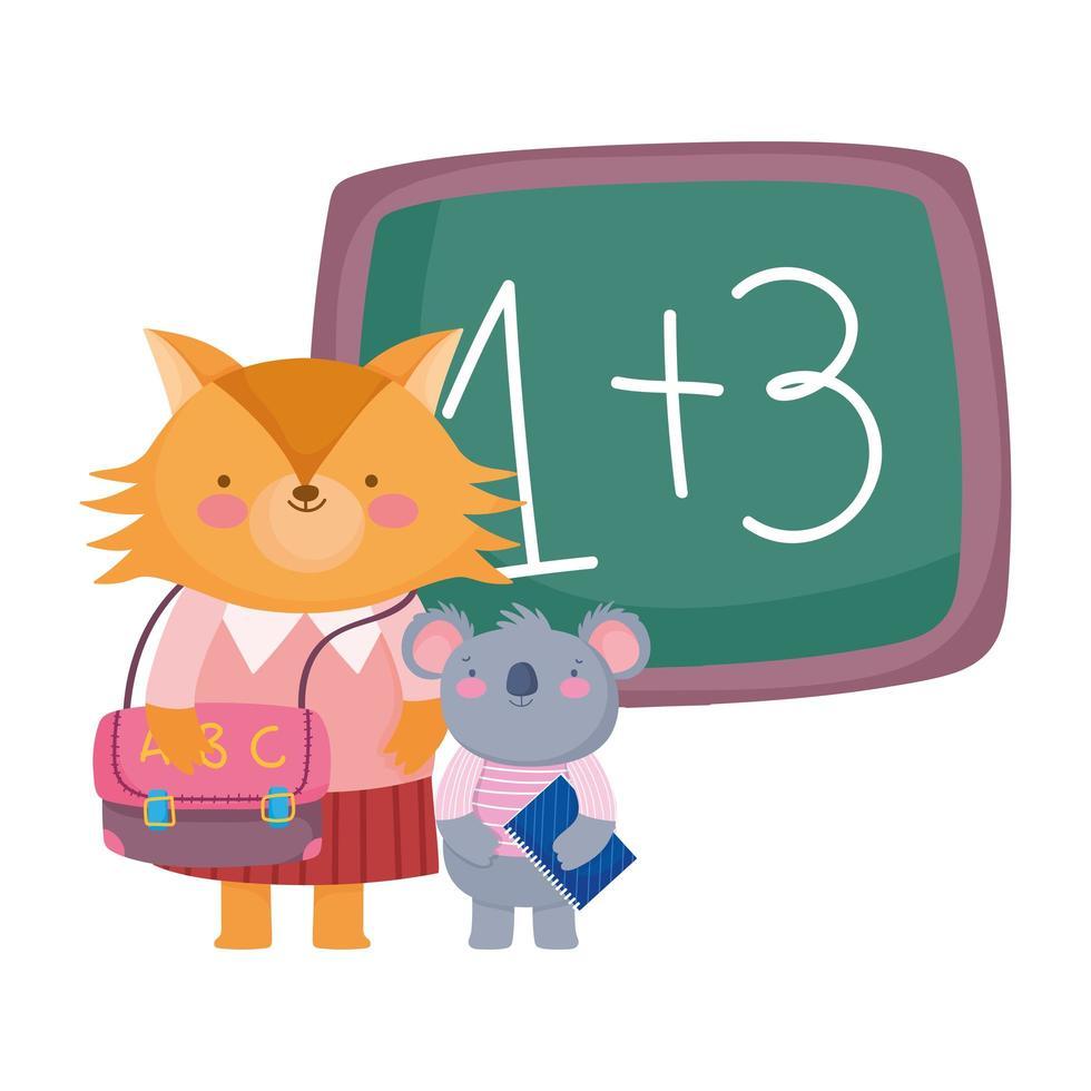 back to school, fox and koala with book bag chalkboard vector