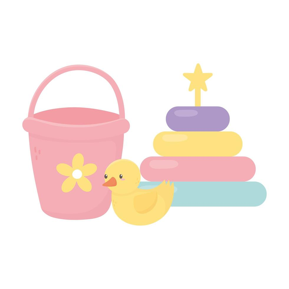 kids zone, bucket rubber duck and puzzles tower toys vector
