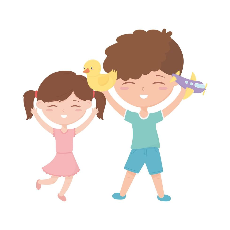 kids zone, cute little boy and girl with duck plane toys vector