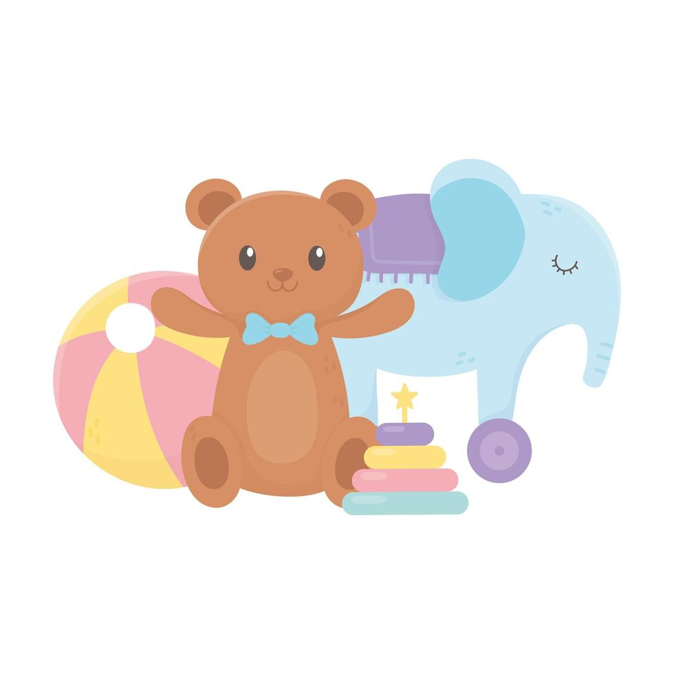 kids zone, teddy bear ball stacking tower and elephant toys vector