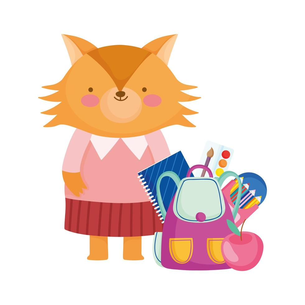 back to school, fox with backpack supplies cartoon vector