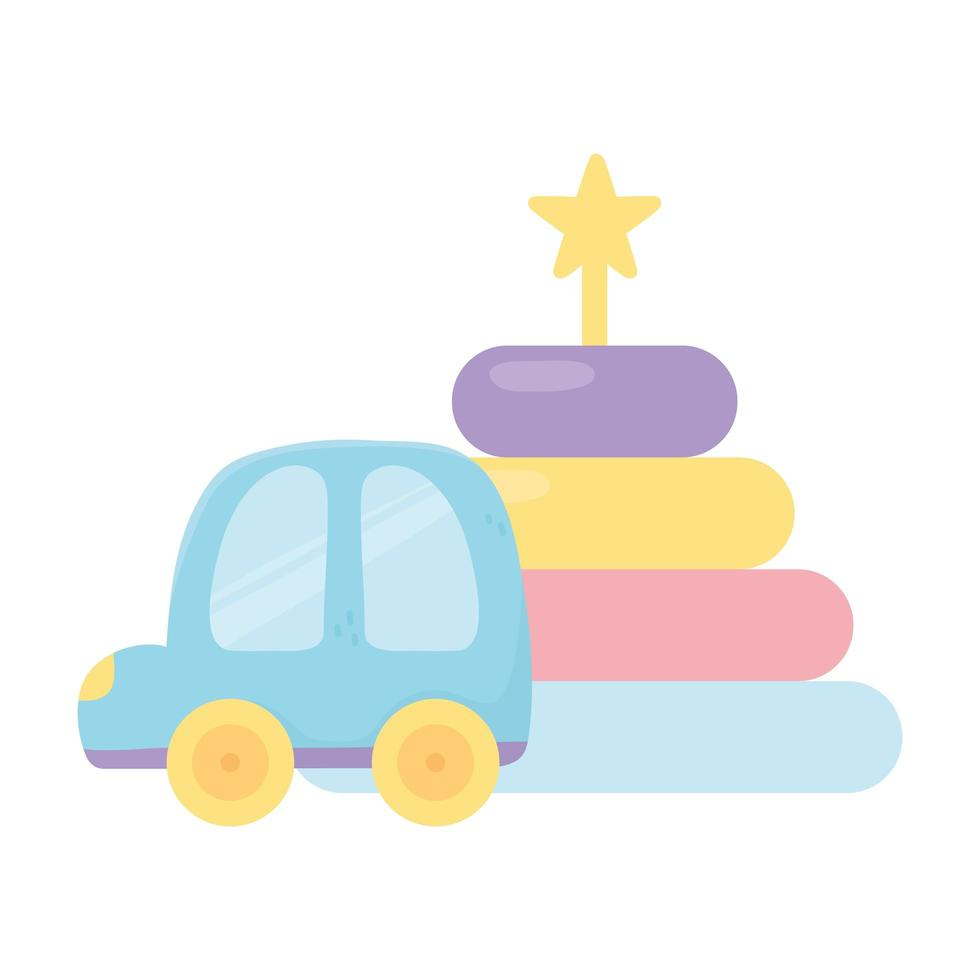 kids zone, plastic car and puzzles tower cartoon toys vector