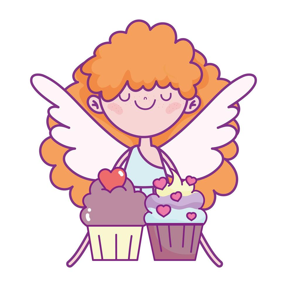 happy valentines day, cute cupid with sweet cupcakes love vector