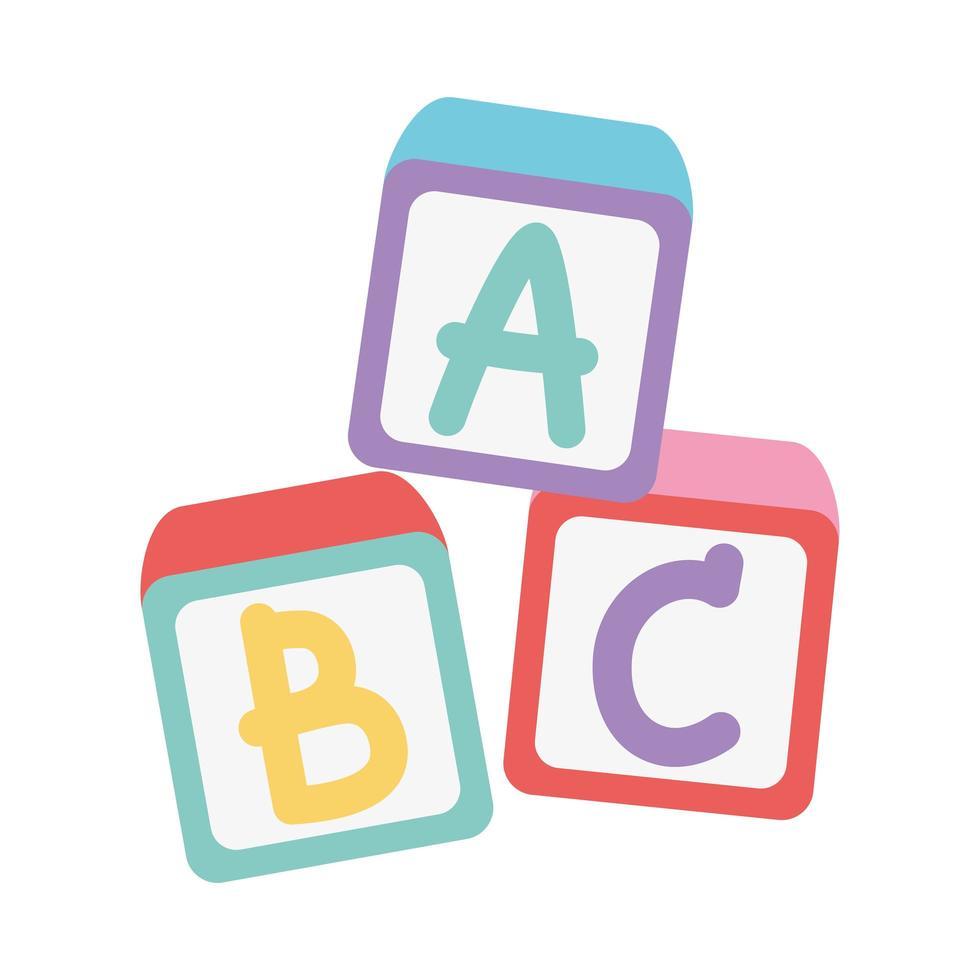 zona de niños, juguetes bloques de alfabeto de dibujos animados vector