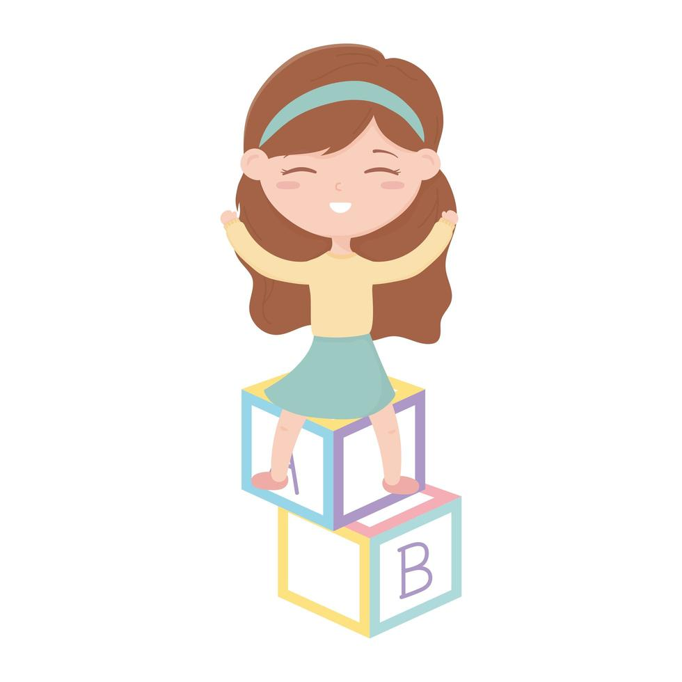 kids zone, cute little girl playing with alphabet blocks toys vector