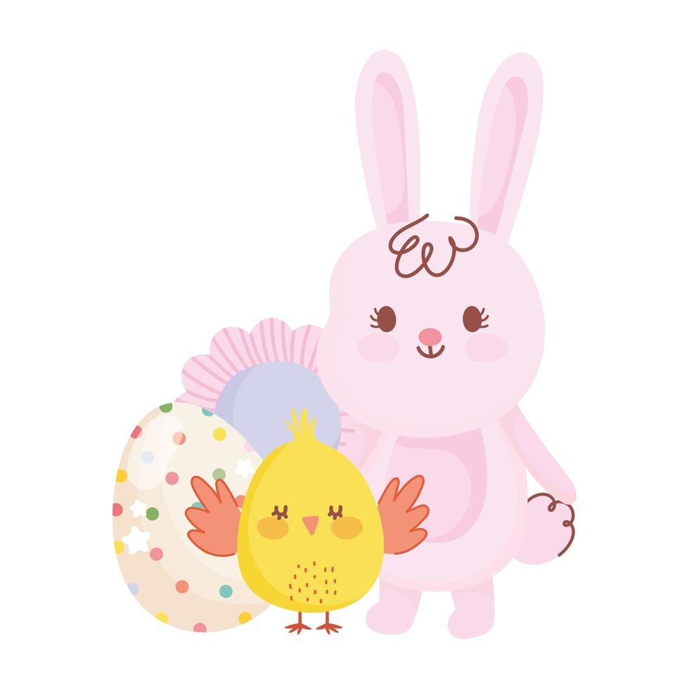 happy easter cute rabbit and chicken egg flower decoration vector