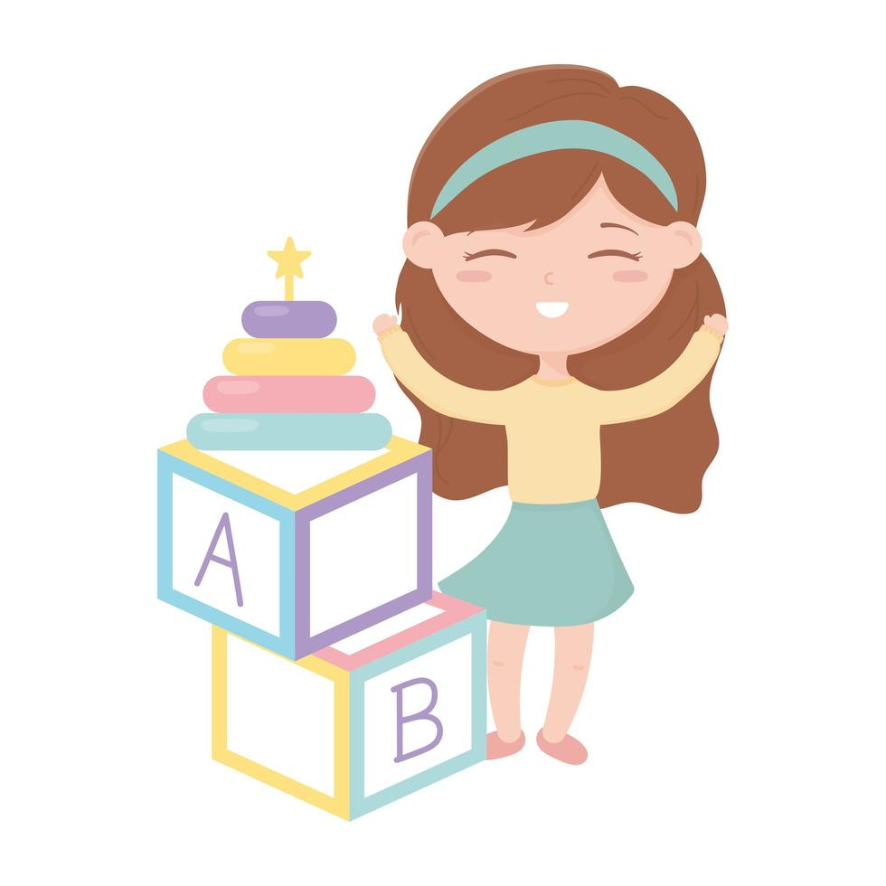 kids zone, little girl alphabet blocks and stacking tower toys vector