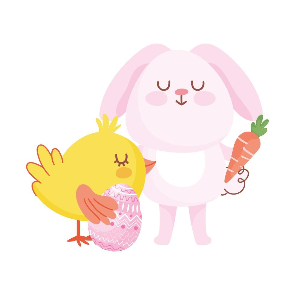 happy easter pink bunny chicken with egg carrot cartoon vector