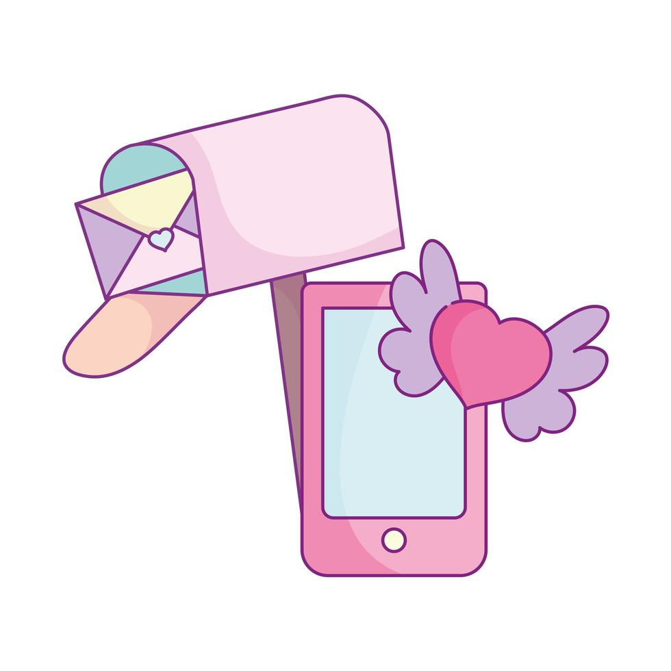 happy valentines day, mailbox letter smartphone heart wings love vector