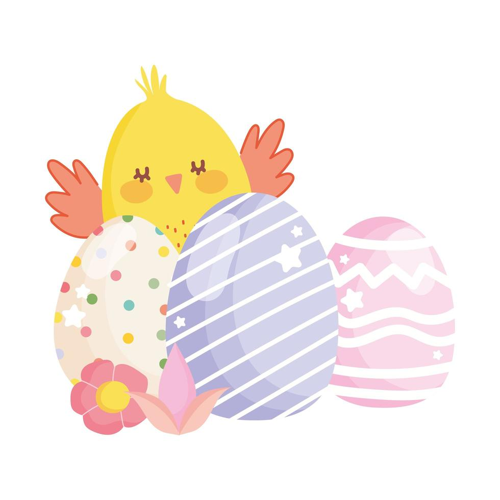 happy easter cute chicken decorative eggs flowers vector