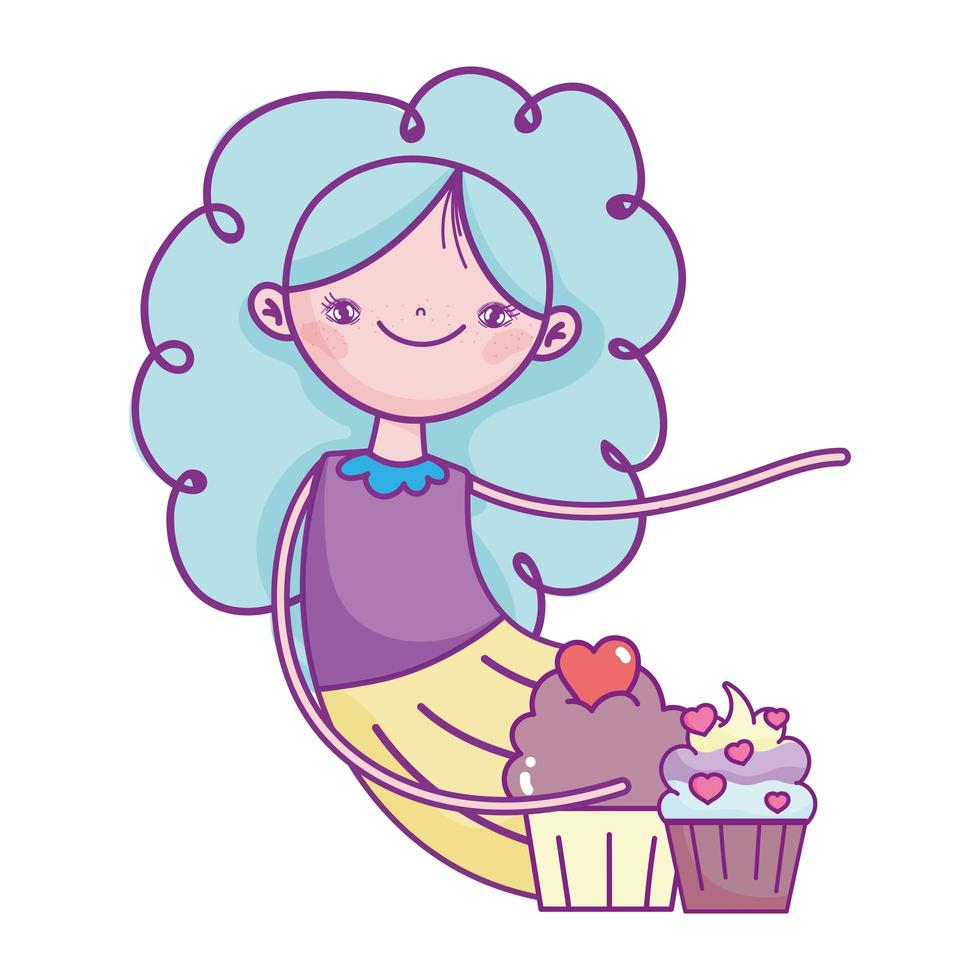 happy valentines day, young woman with sweet cupcakes with hearts vector