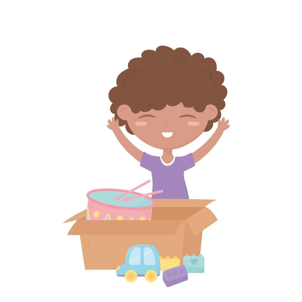 zona infantil, lindo niño con coche y caja con juguetes de bloques de tambor vector