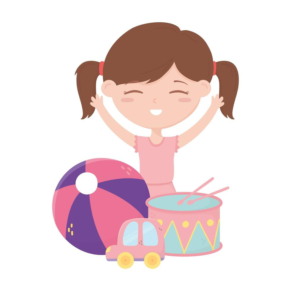 zona de niños, niña con tambor y juguetes de coche de dibujos animados vector
