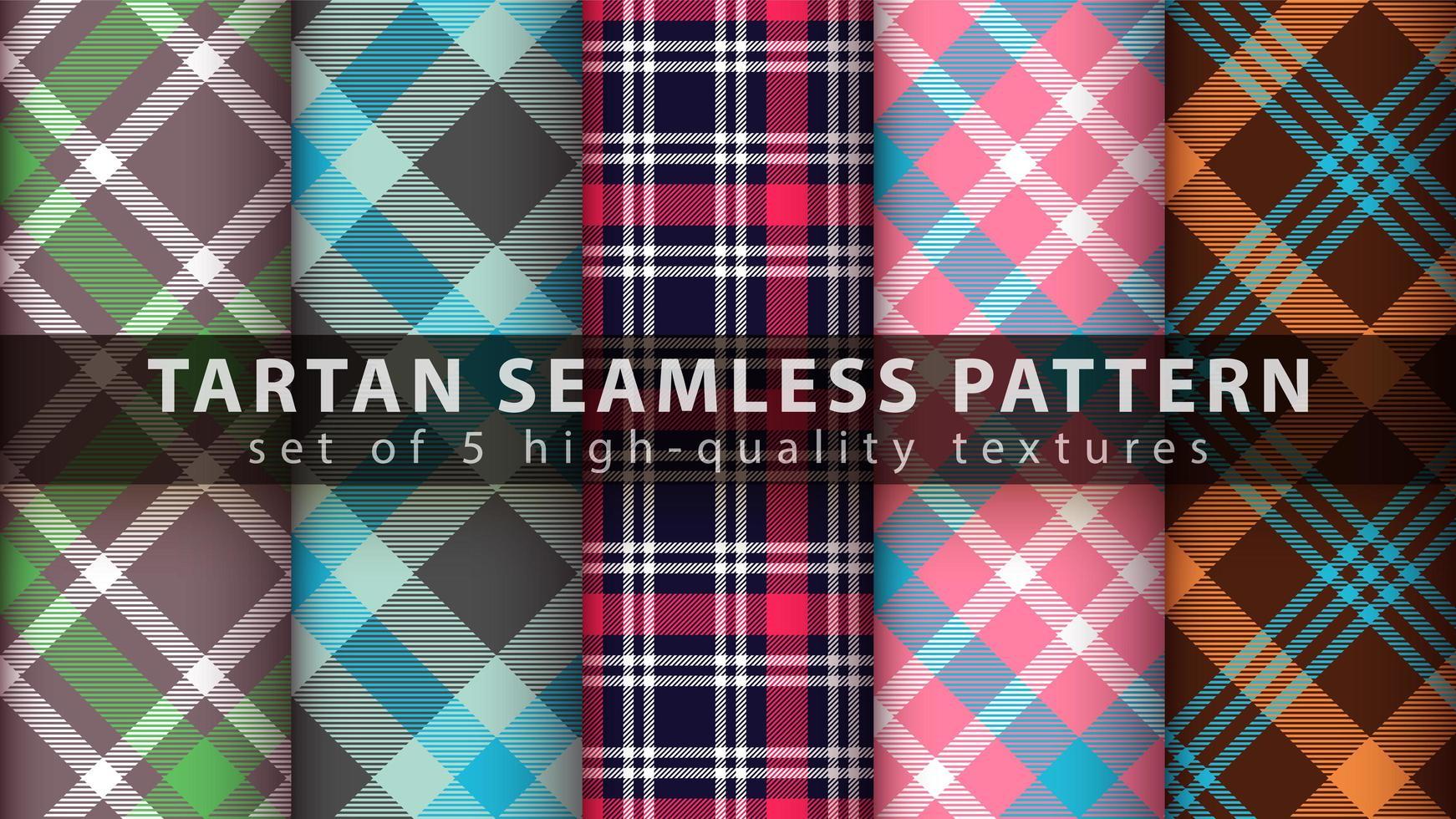 Set of classic tartan seamless pattern background vector