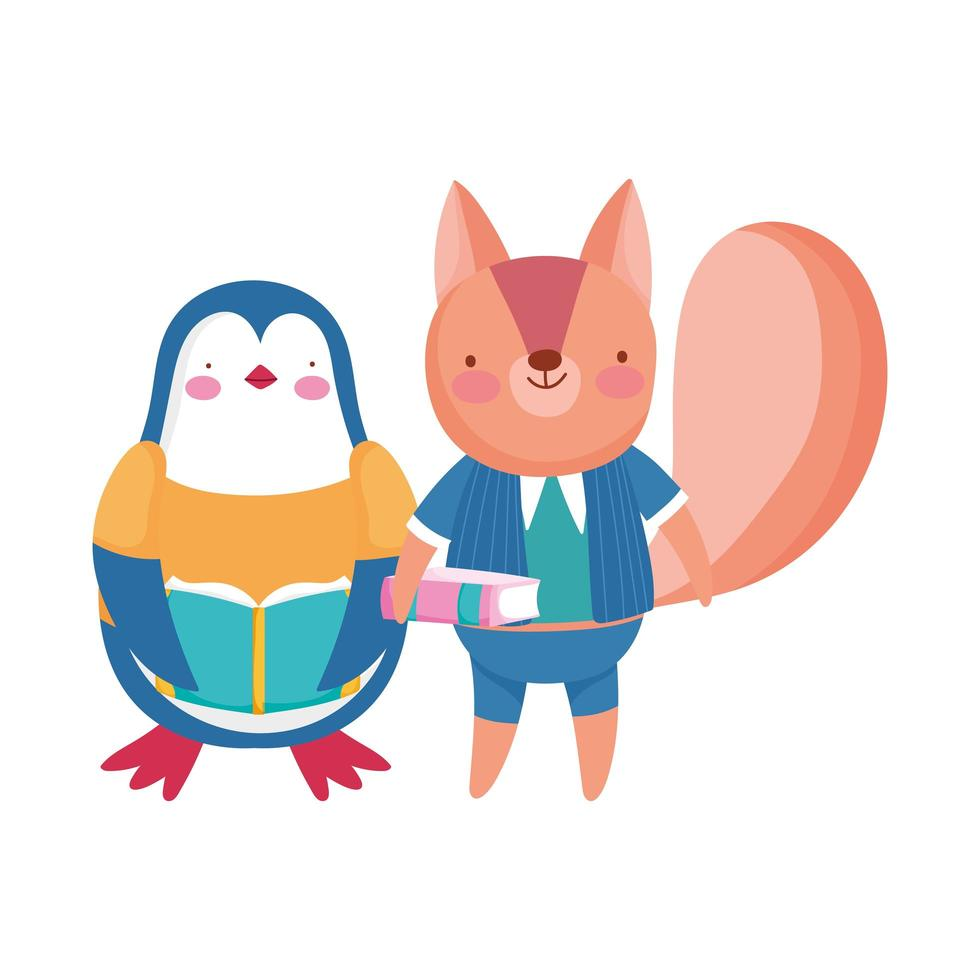 back to school, squirrel penguin with books cartoon vector