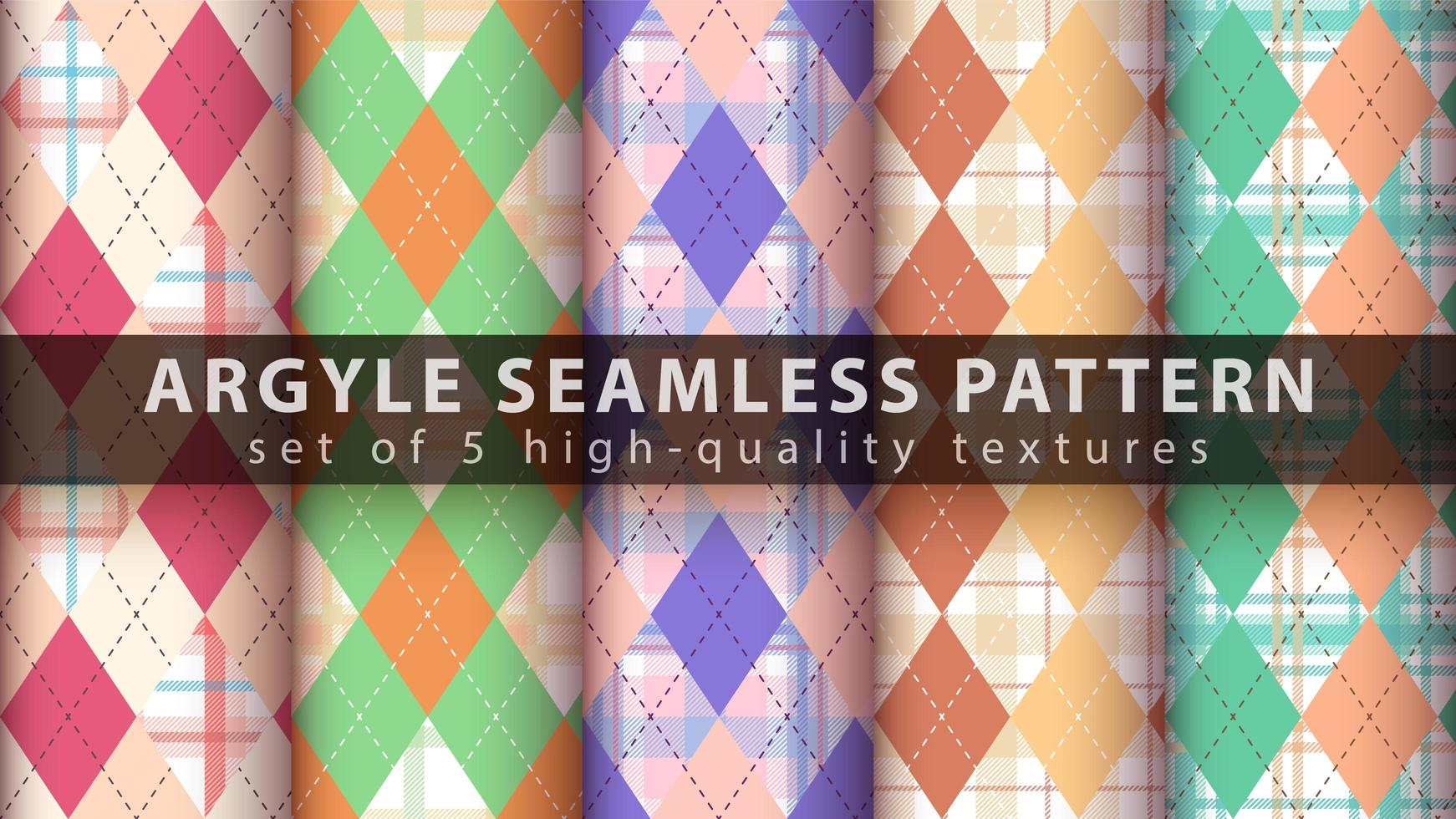Set of colorful argyle seamless pattern background vector