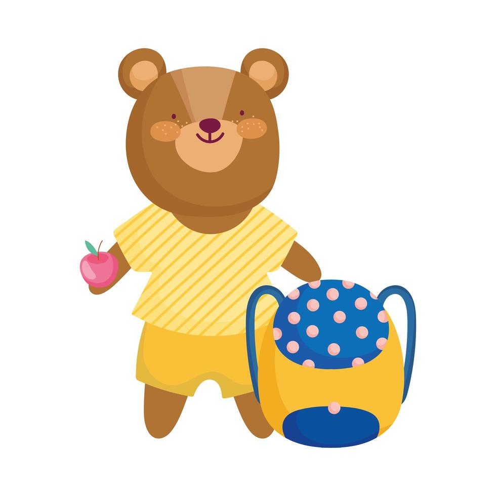 back to school, bear backpack and apple cartoon vector