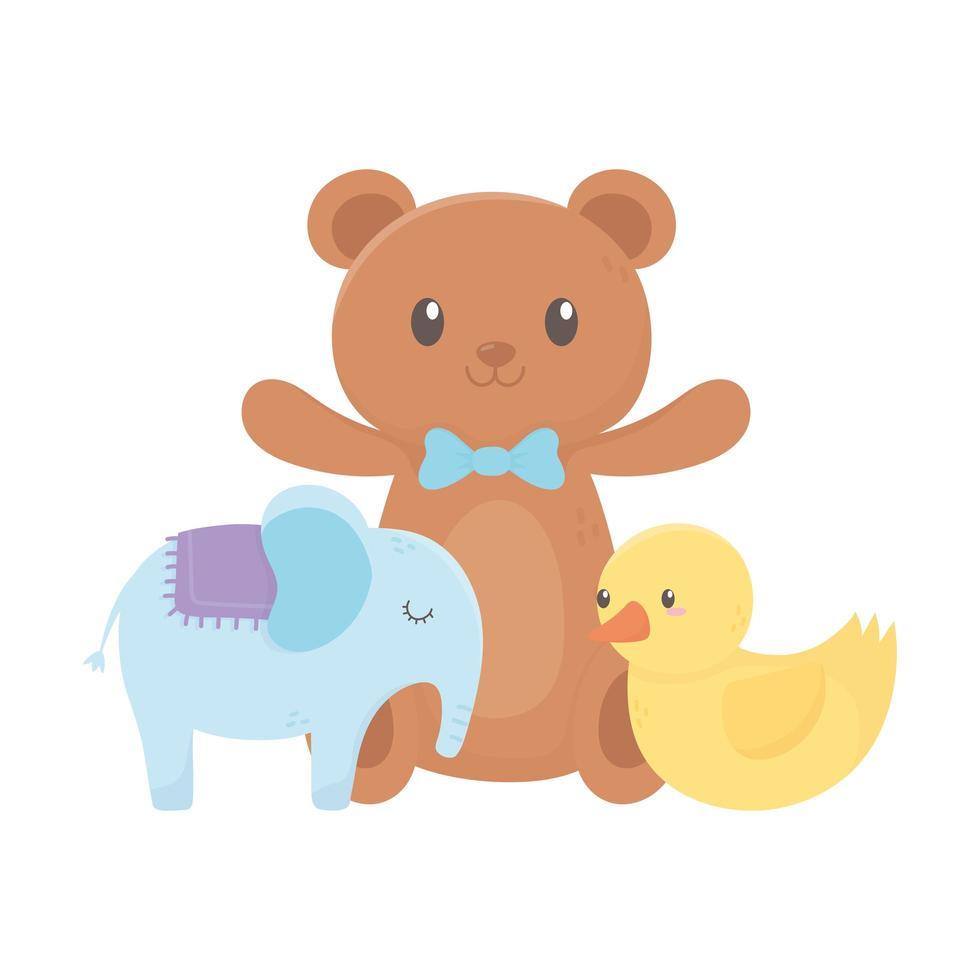 zona infantil, oso de peluche, pato y juguetes de elefante. vector