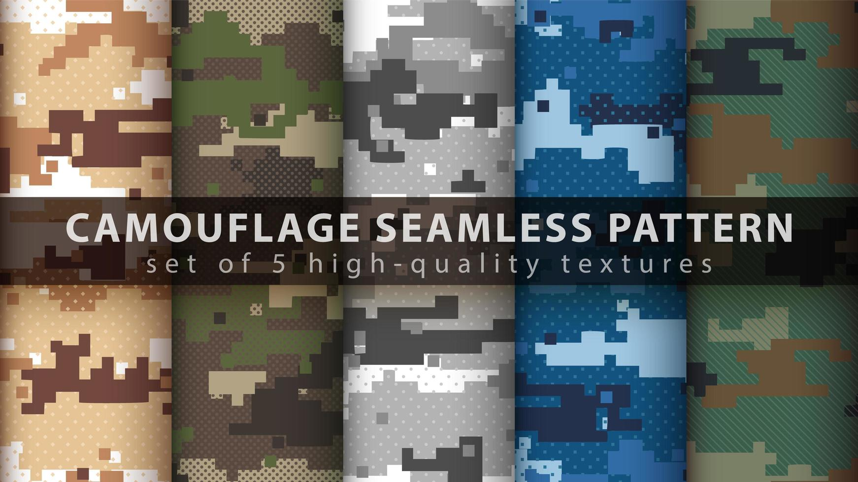 Set pixel camouflage military seamless pattern background vector