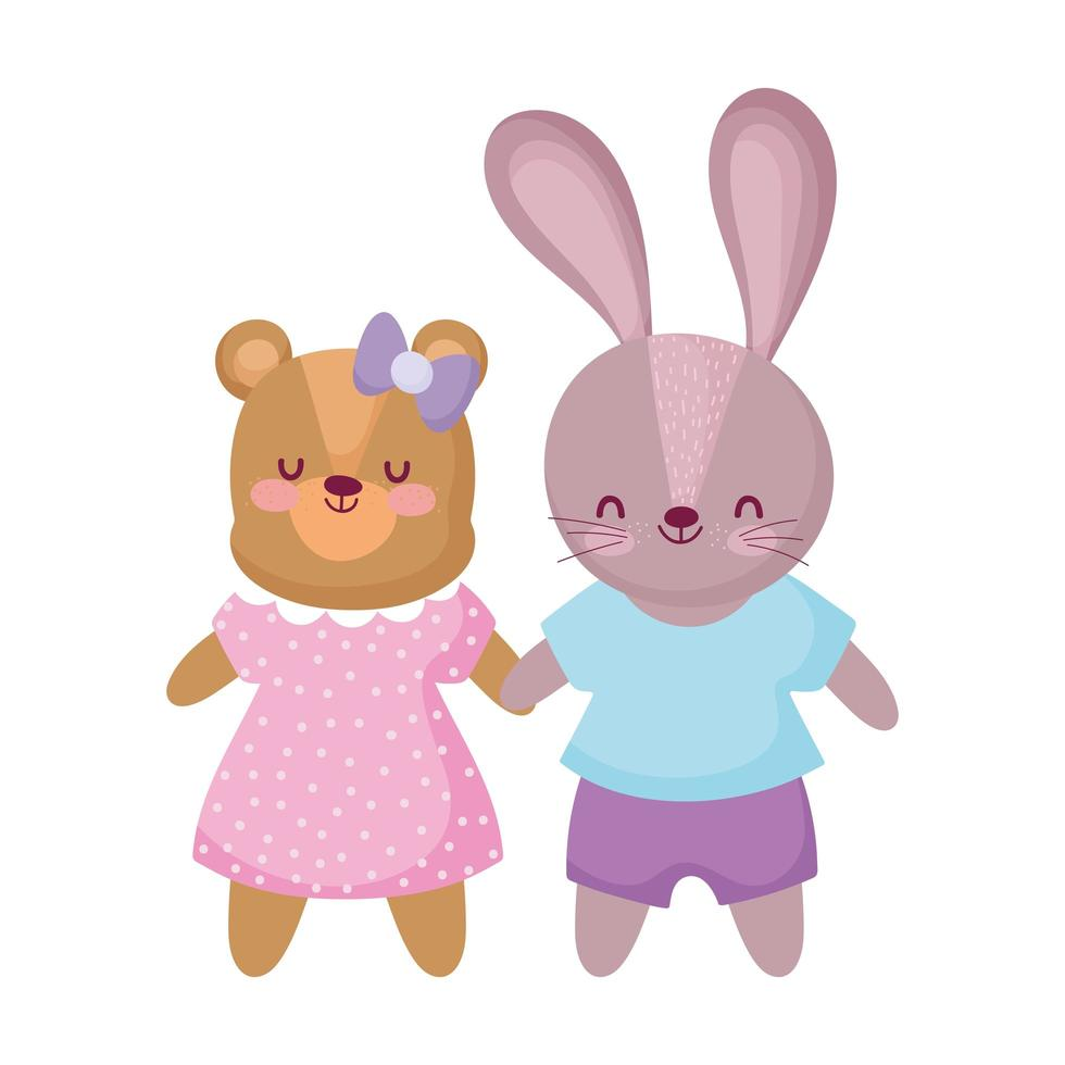 cute bear and rabbit with clothes animals cartoon character vector