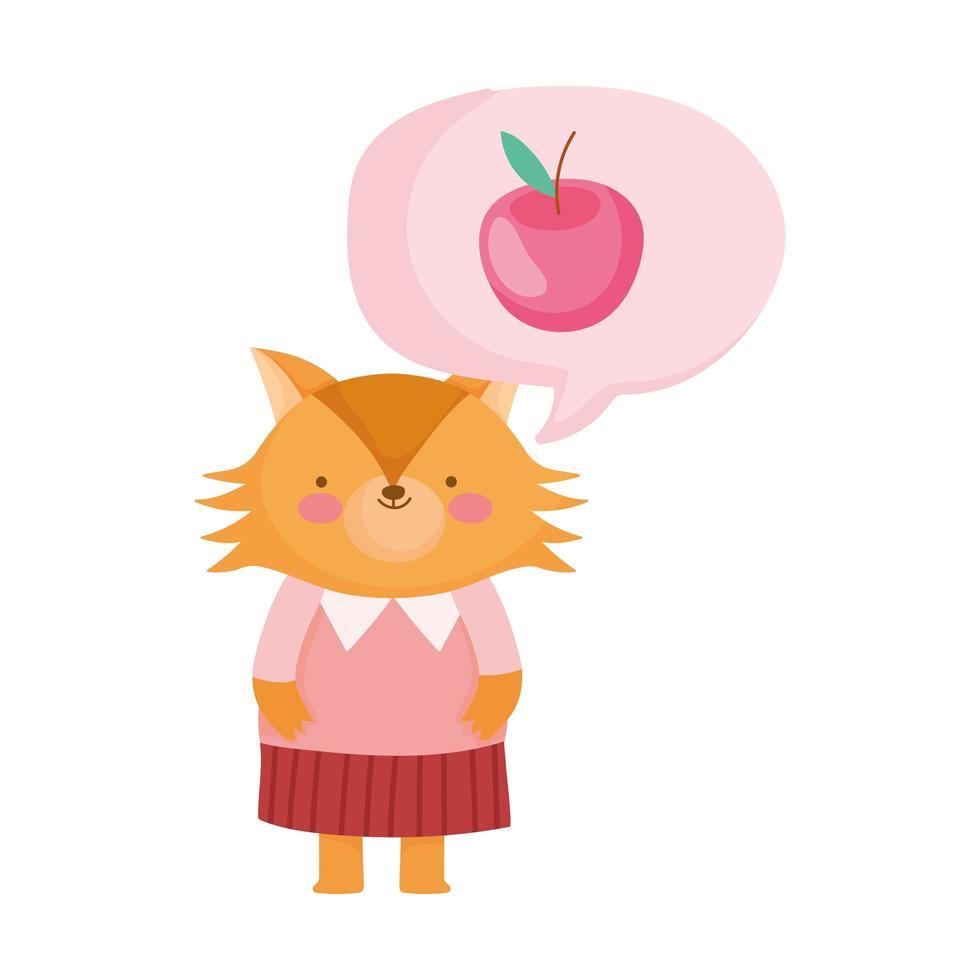 back to school, fox apple speech bubble cartoon vector